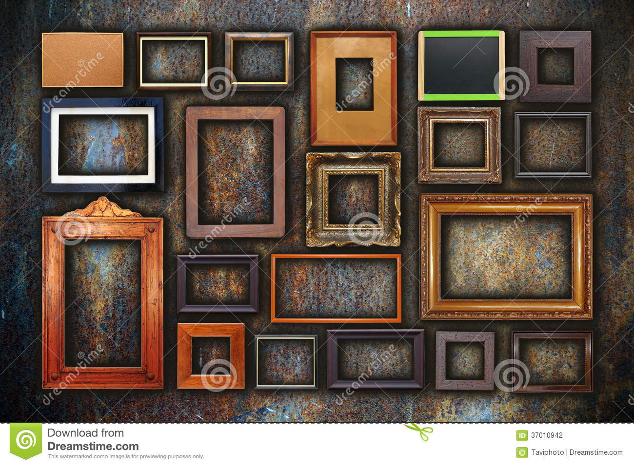 Grunge Wall Full Of Old Frames Stock Photography Image