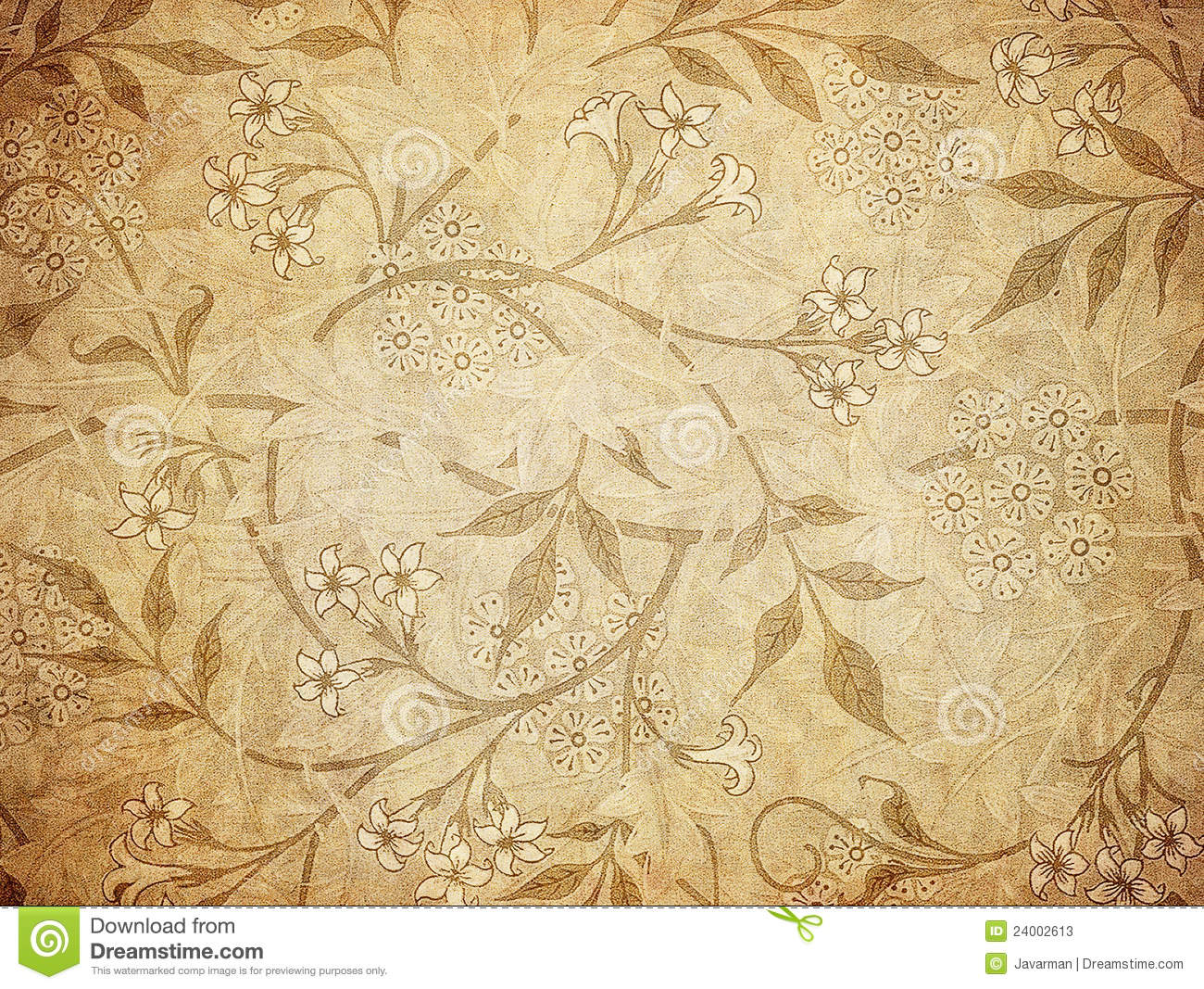 Grunge Wallpaper With Floral Pattern Stock Photos Image