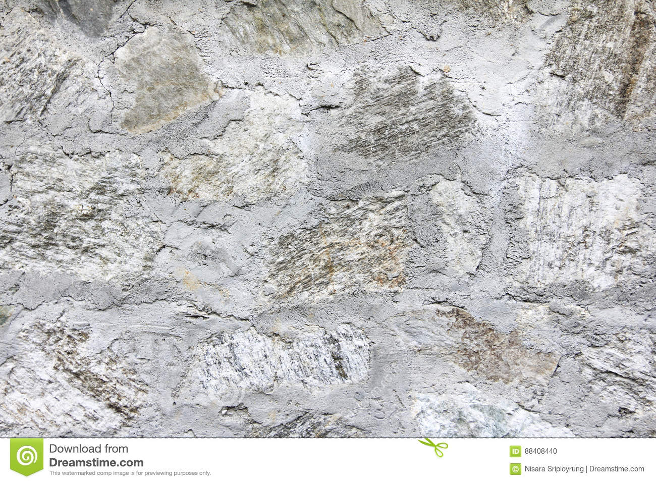 Grunge white concrete and stone wall