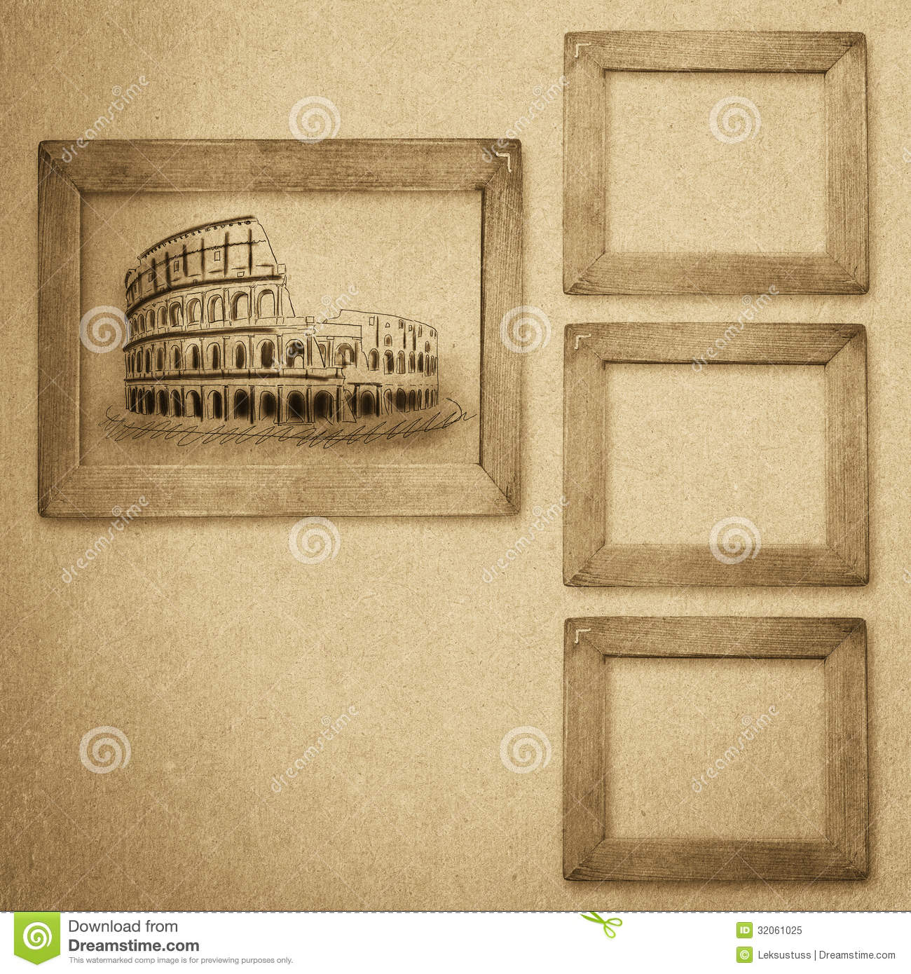 Grunge Wood Frame Background Vintage Paper Texture Royalty Free