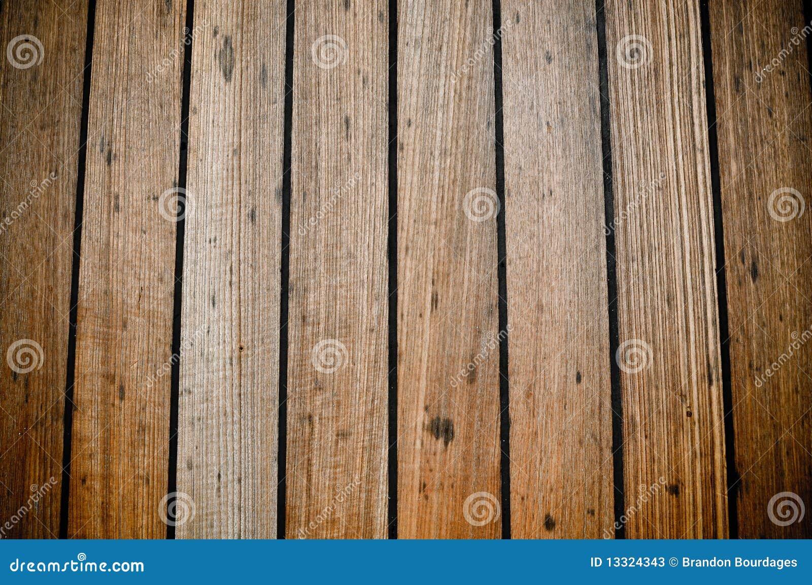 Grunge wooden ship deck planks background stock image