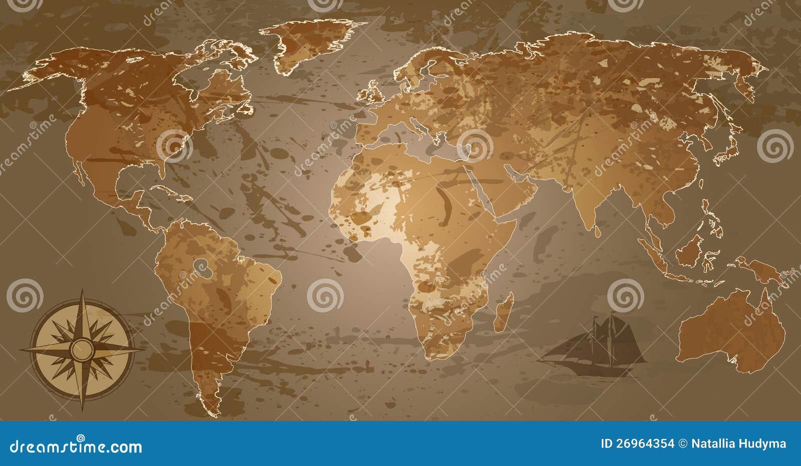 Grunge World Map Stock Vector Illustration Of Journey 26964354