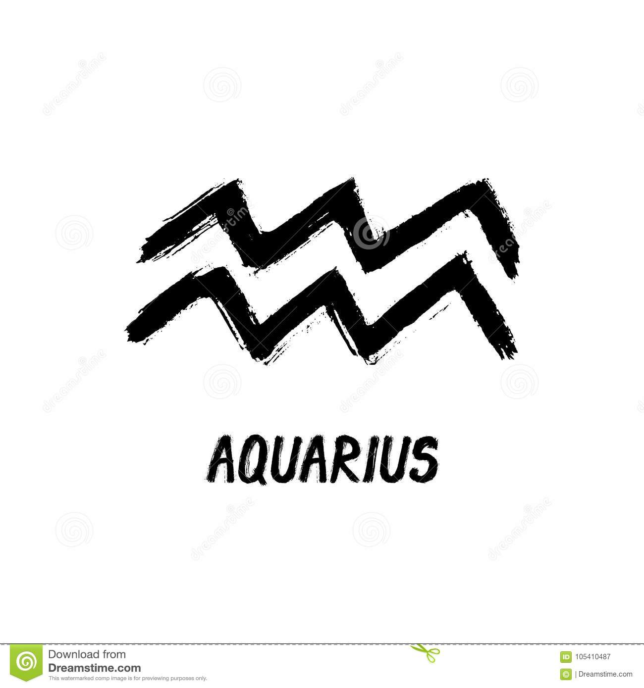 Grunge Zodiac Signs - Aquarius - The Water-Bearer Stock Vector
