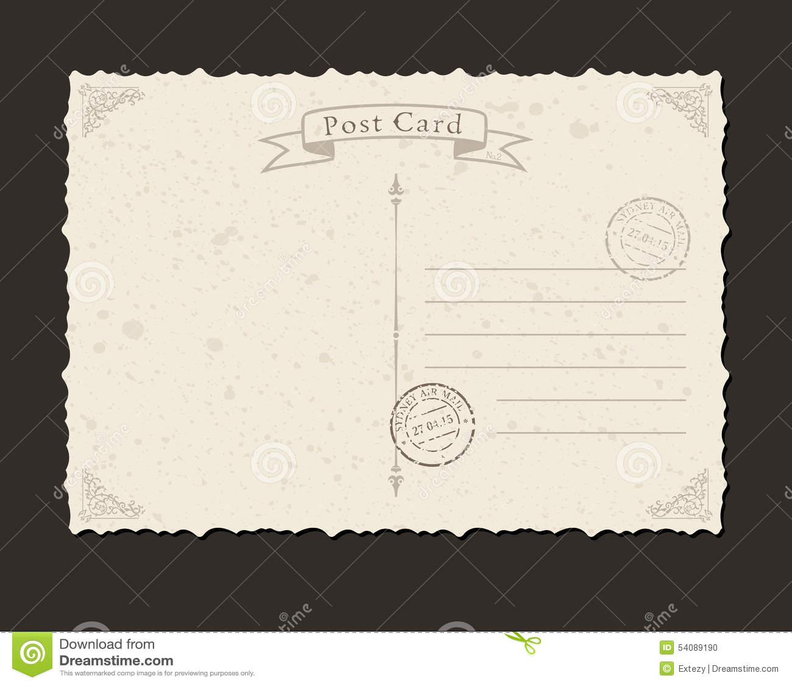 Grungeprentbriefkaar en postzegel Ontwerp