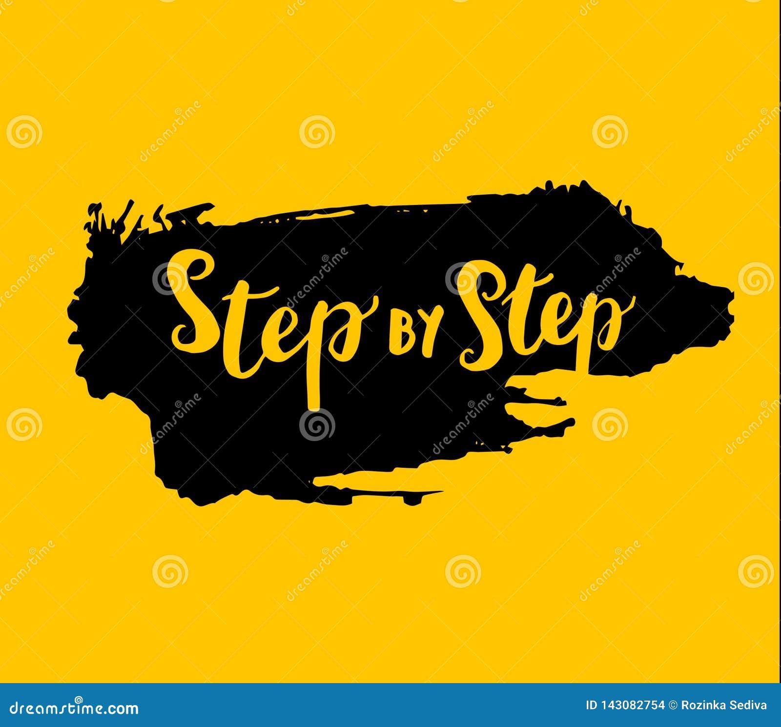 Grungetecken som är steg-för-steg på gul bakgrund vektor