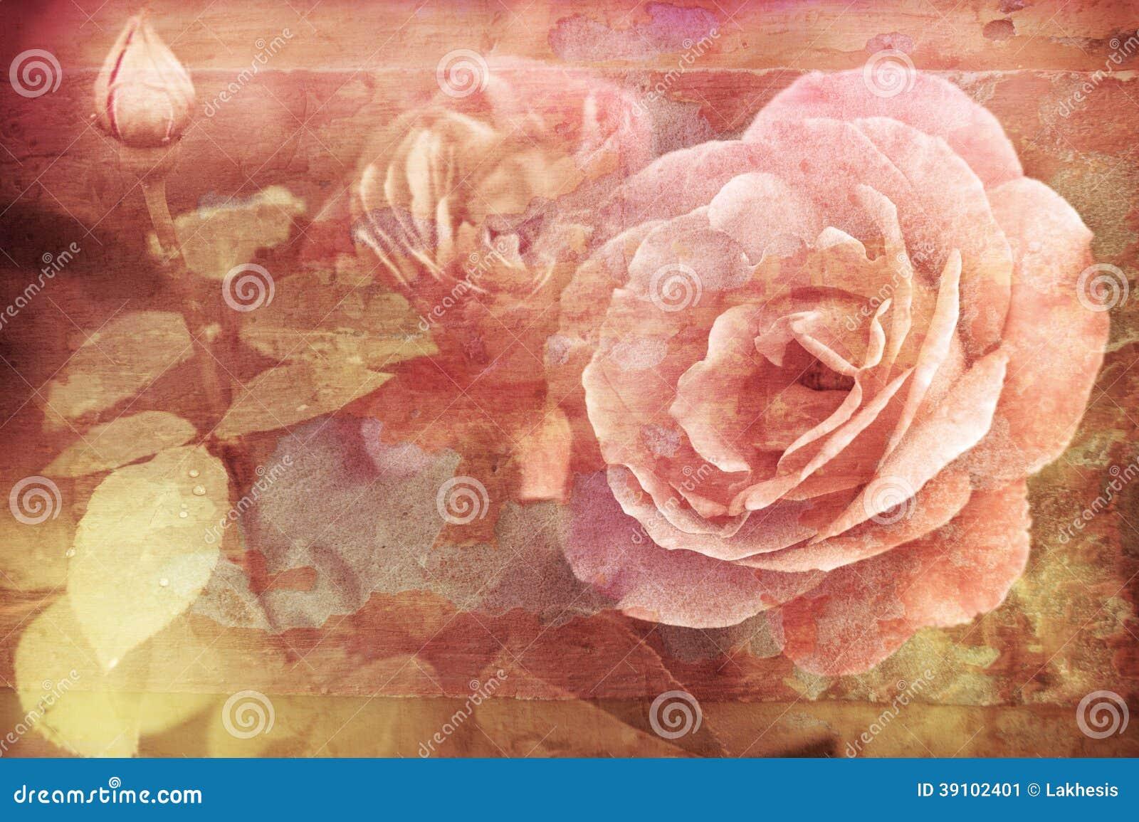 Grungetextuur met bloemenachtergrond in uitstekende stijl romantisch