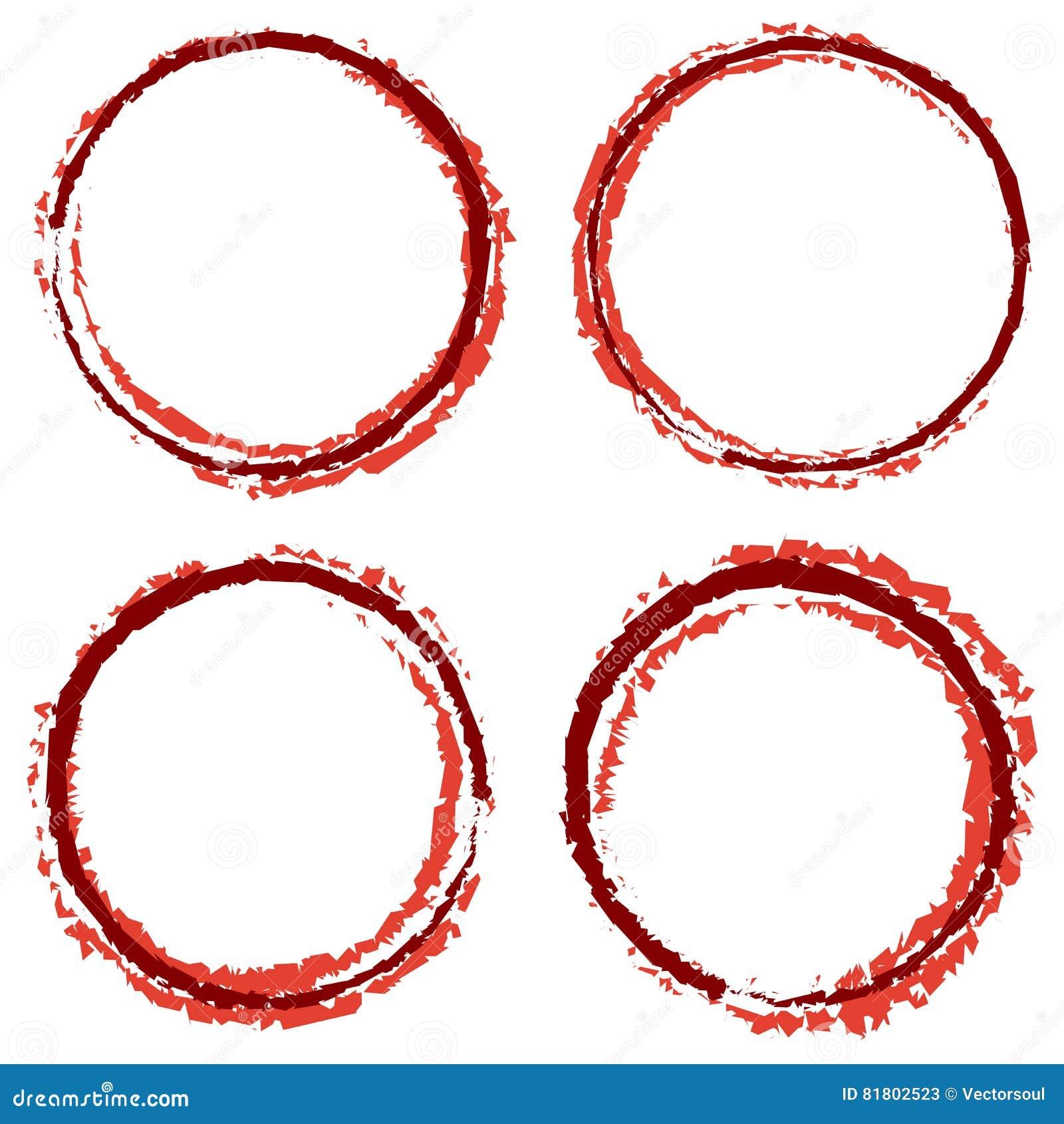 Grungy, текстурированные круги с 4 линией ширина Запятнанный smudge, smea