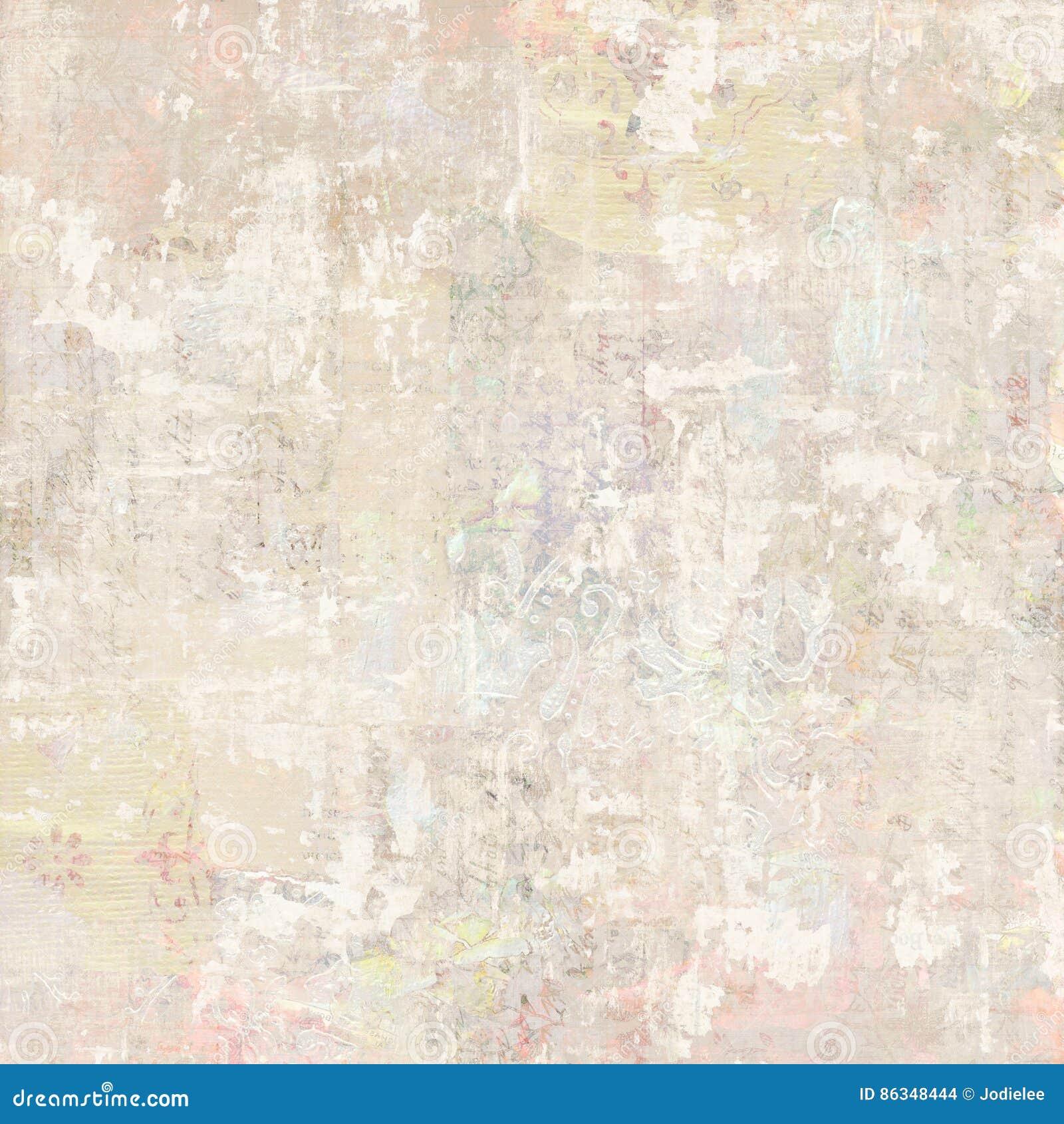 Grungy antik bakgrund för collage för blom- tapet för tappning