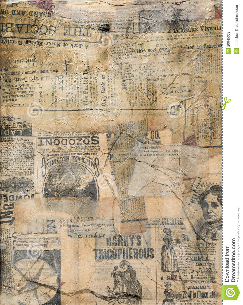 Grungy antique newspaper paper collage stock photo image - Papel vintage pared ...