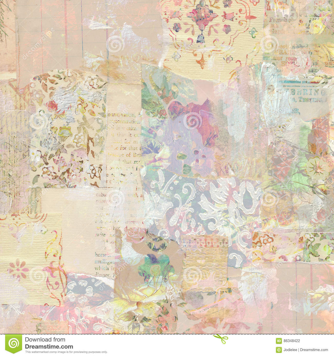 Grungy Antique Vintage Floral wallpaper collage Background