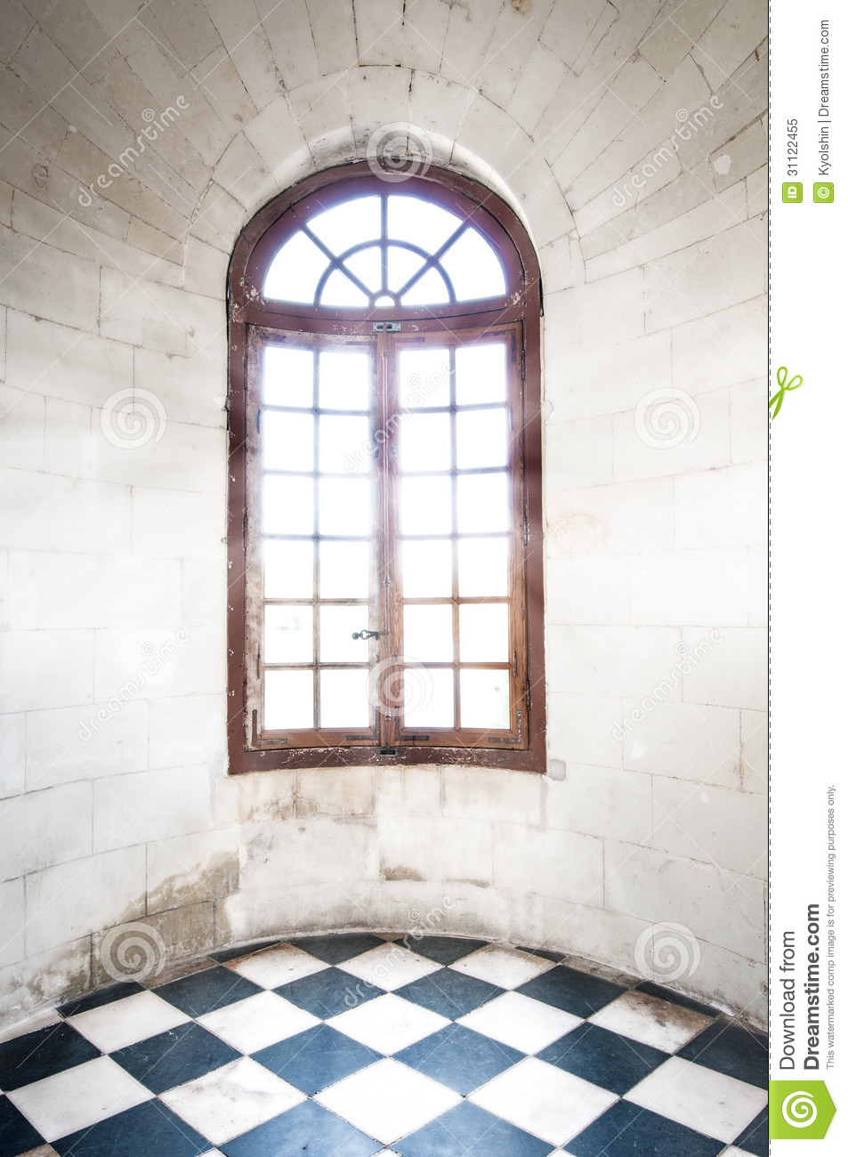 Grungy arched window inside old building stock image for Sunlight windows