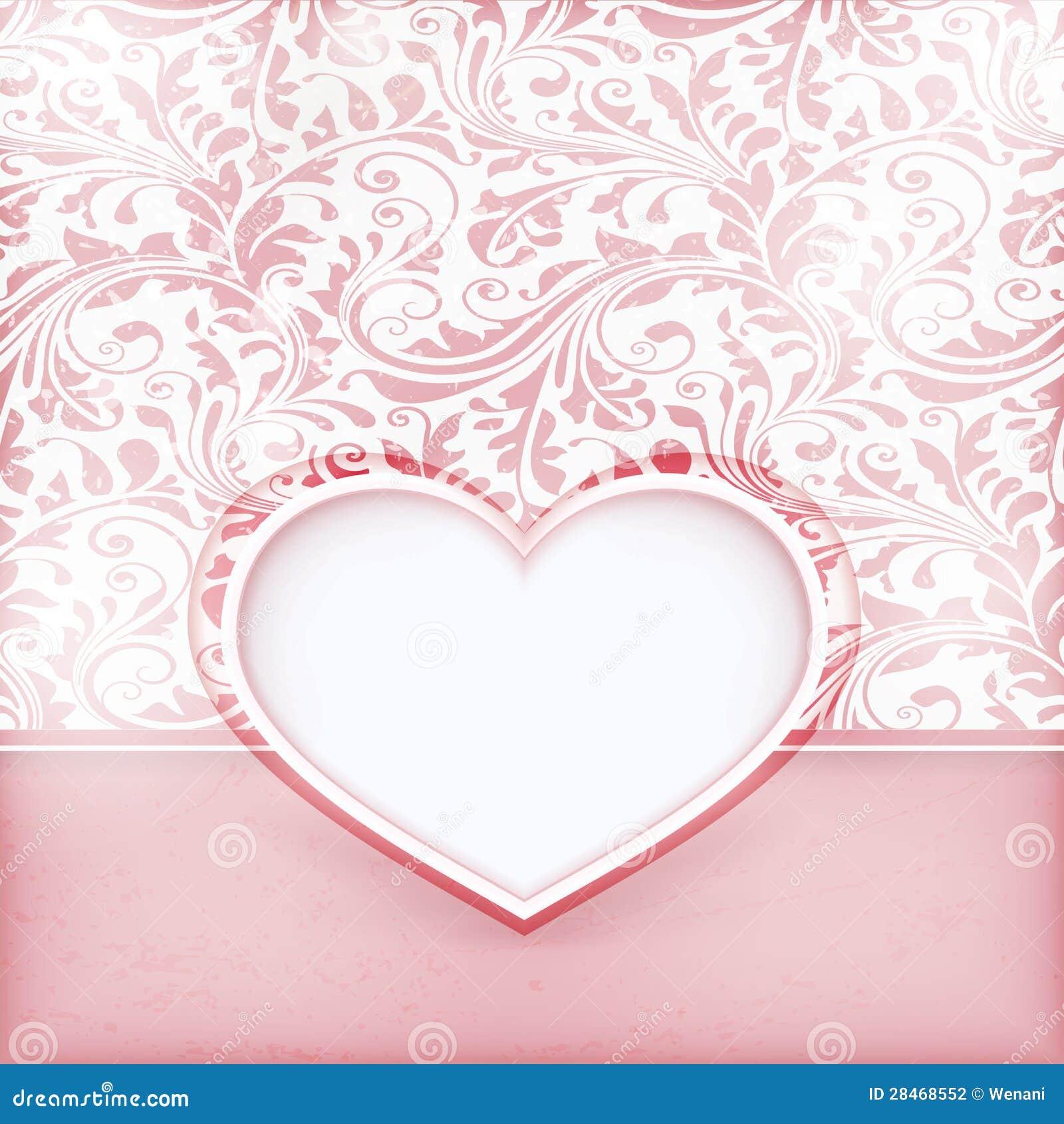 Grungy blom- inbjudankort med förälskelsehjärtaetiketten