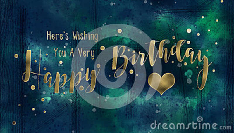 Grungy Blue and Gold Birthday Card
