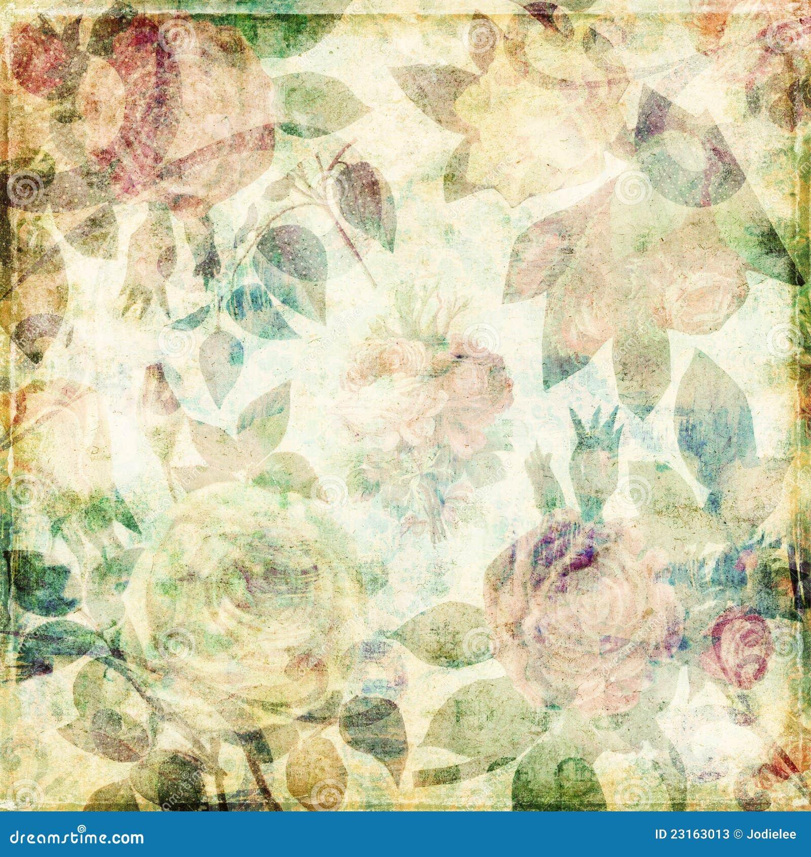 Grungy botanical vintage roses shabby background