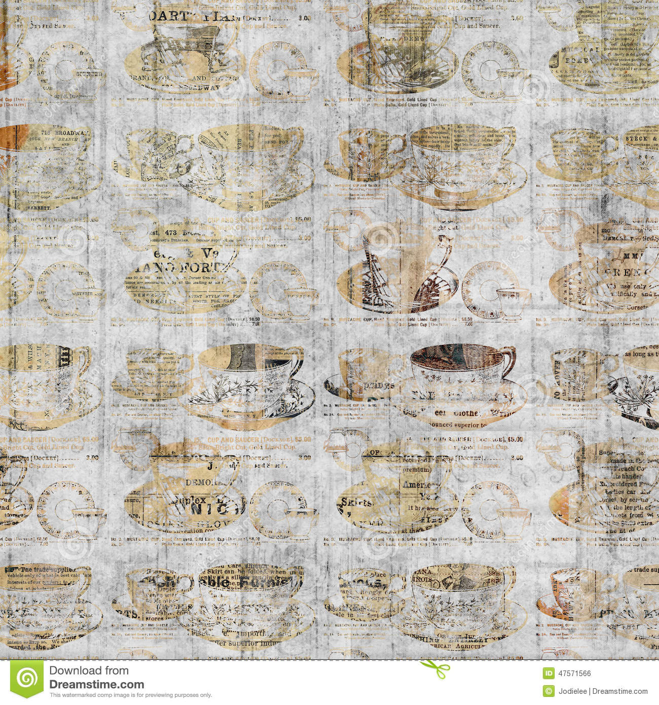 Grungy coffee cup wall art with vintage newspaper - Papel de pared retro ...
