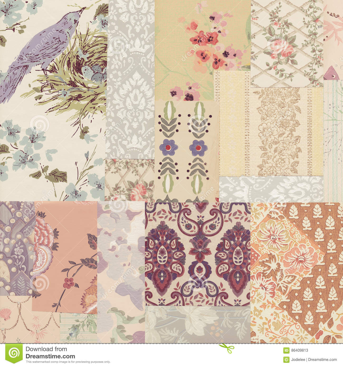grungy collage of shabby chic vintage wallpapers stock image image