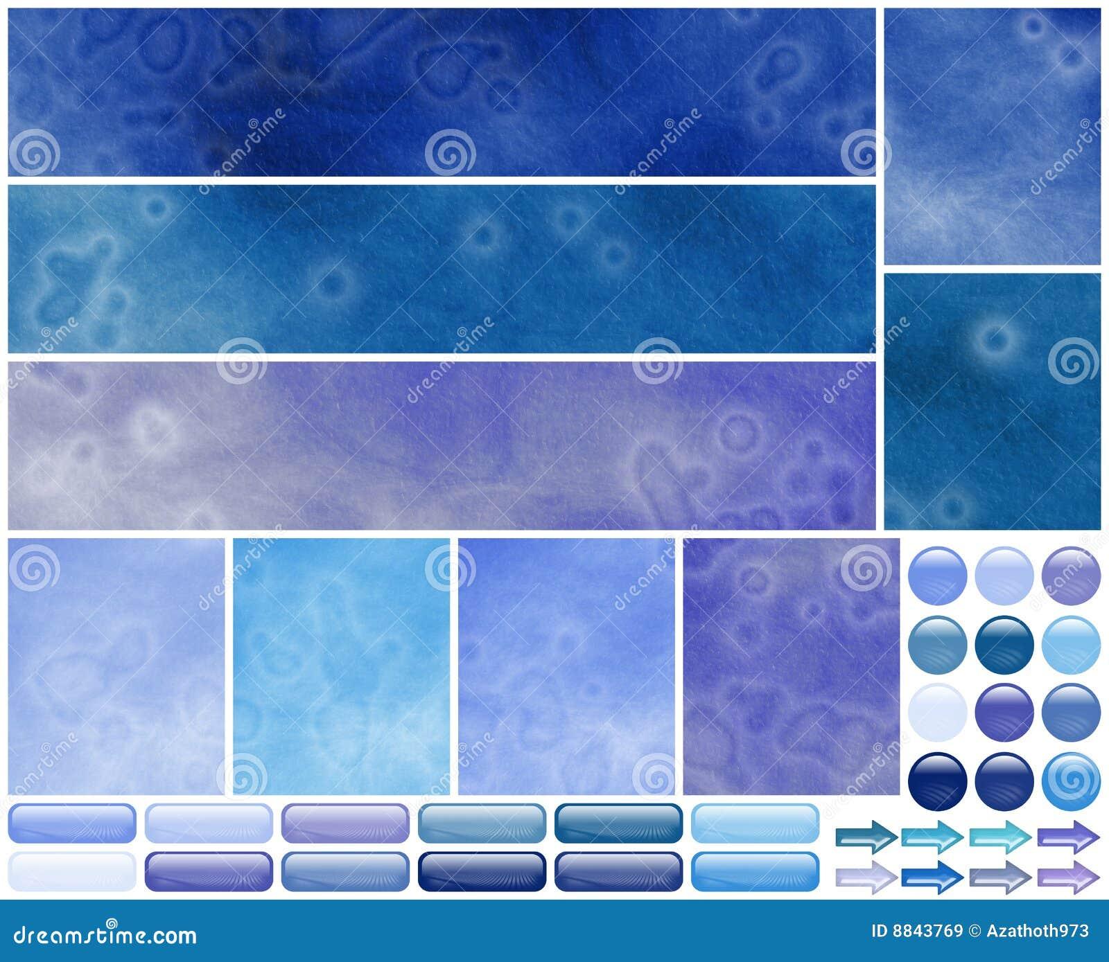 Grungy Cool Azure Violet Web Template Elements Stock Illustration