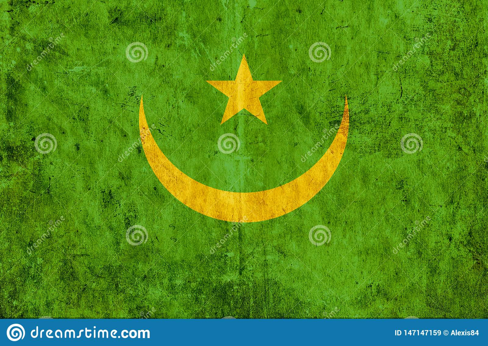 Grungy document vlag van Mauretanië