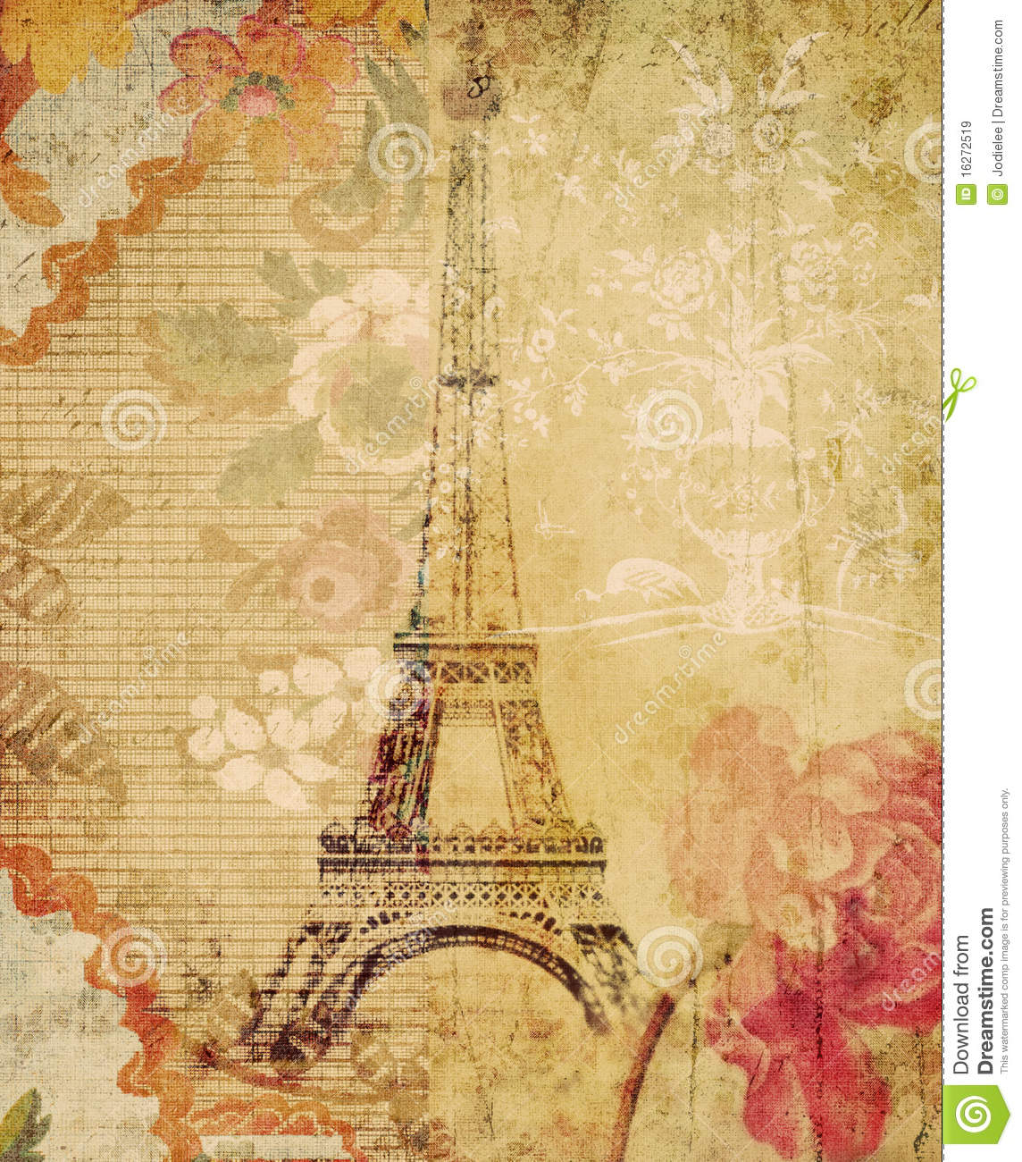 Grungy Floral Eiffel Tower Paris Background Stock Illustration ...