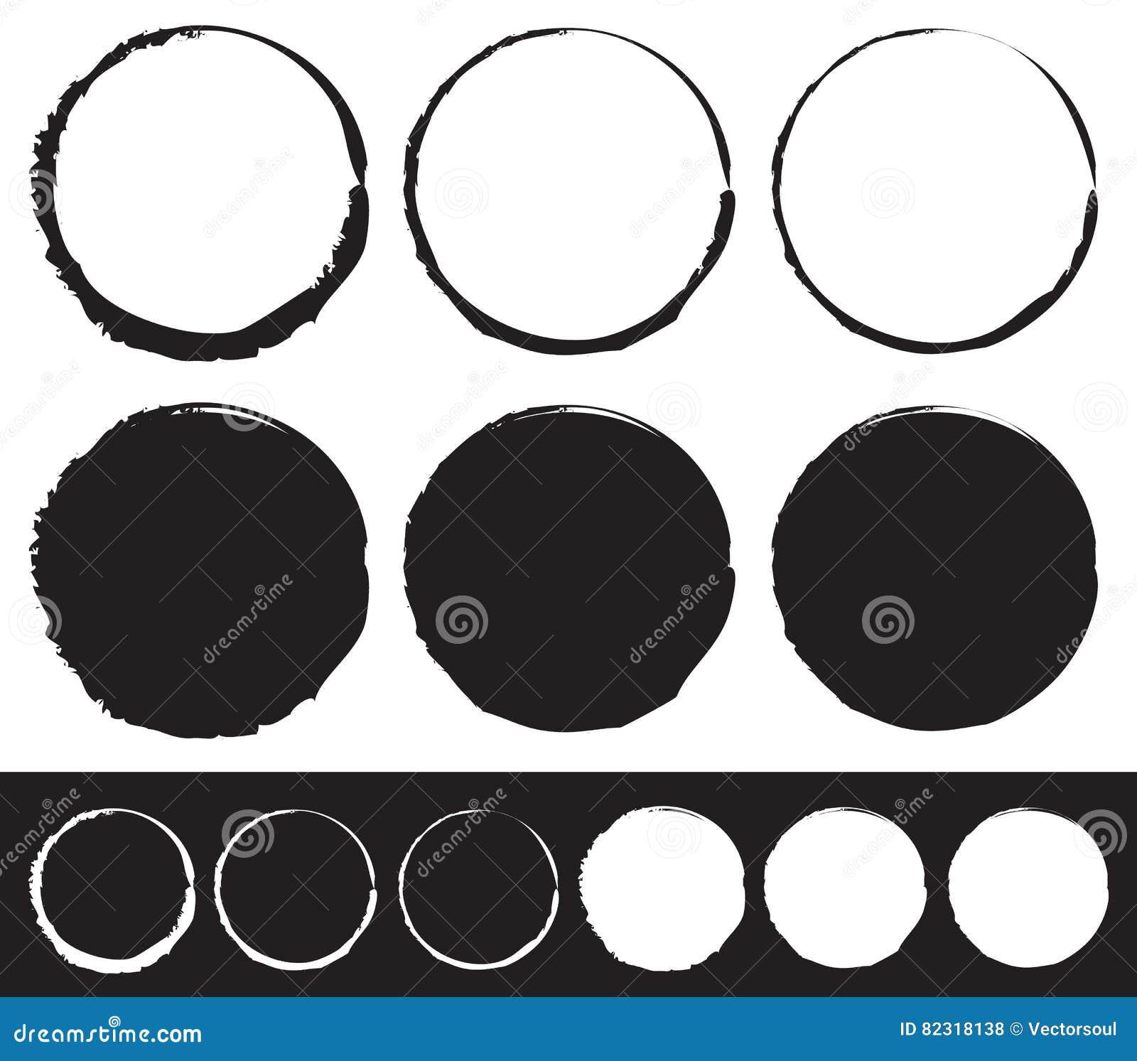 Grungy geplaatst cirkelelement - Cirkels met bevlekte, gesmeerde verf