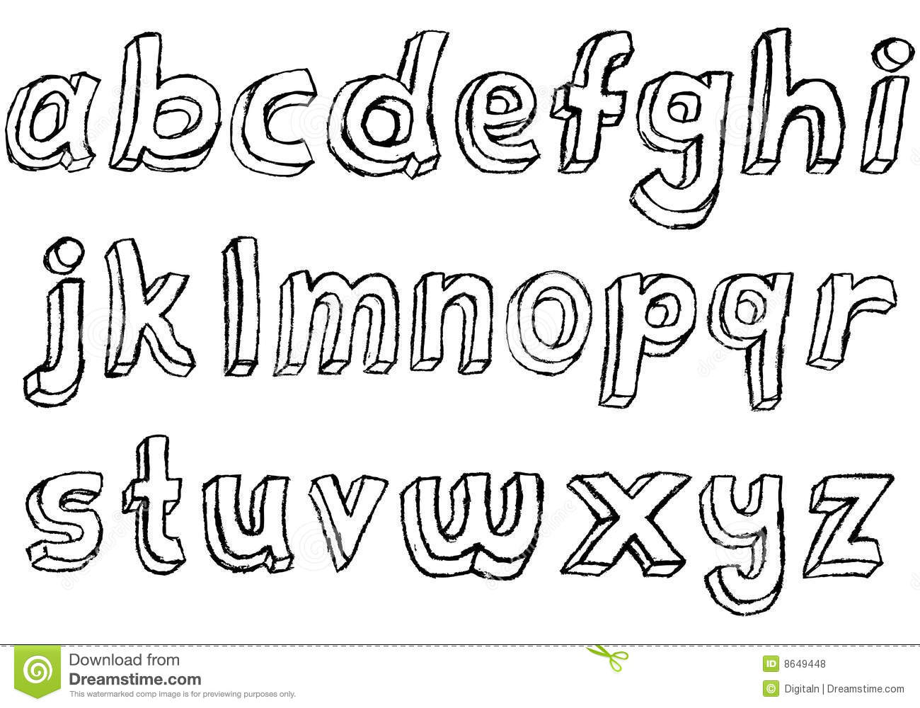 Grungy Hand drawn Lowercase Alphabet Royalty Free Stock
