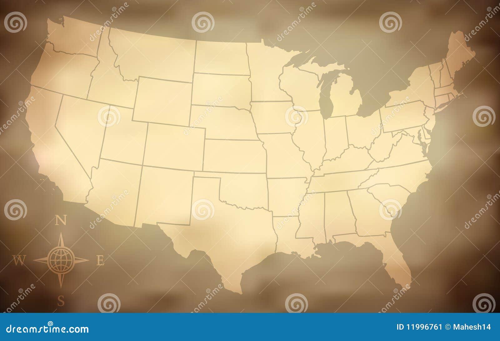 Grungy Kaart van de V.S.