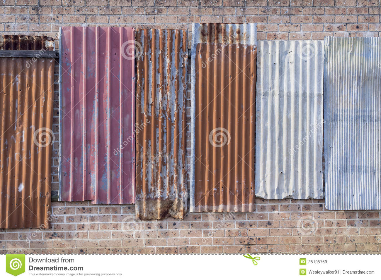 Grungy Metal Panels On A Wall Stock Image Image Of Rusty