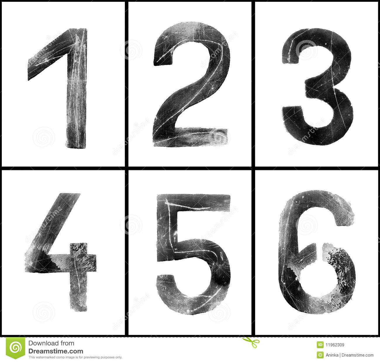Old rusty numbers (1-6) in greyscale with clipping path, grainy ...
