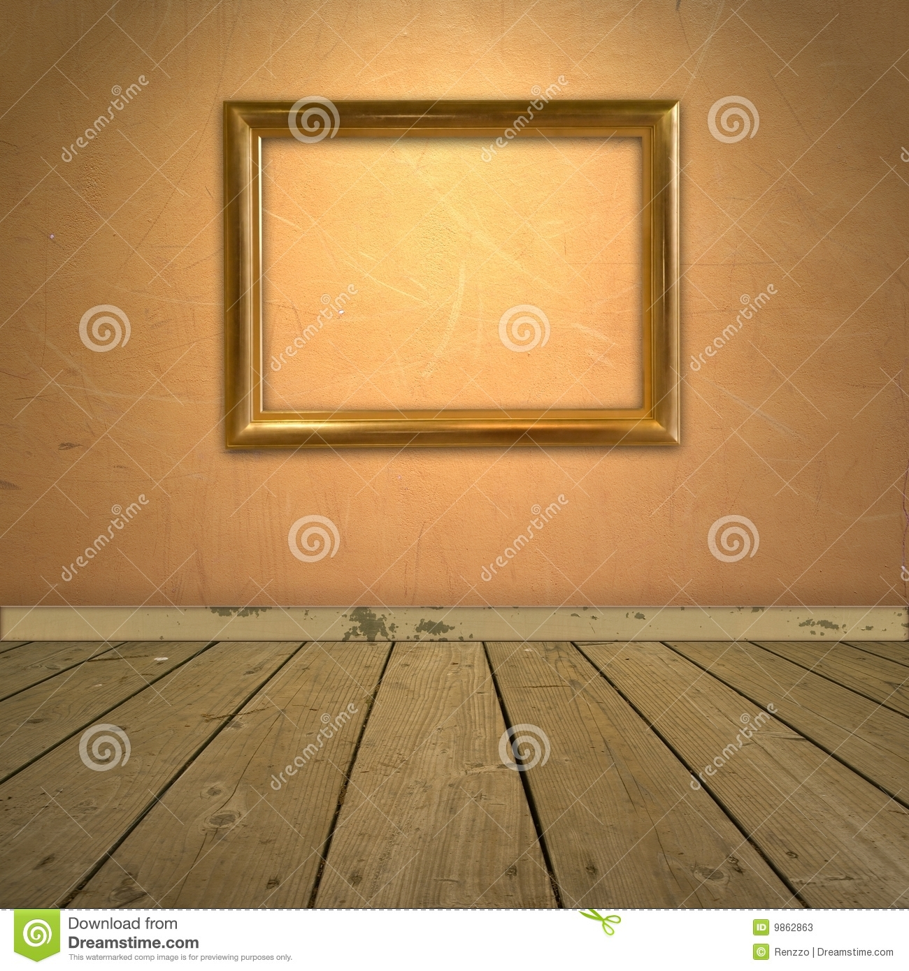 Wall Picture Frame grungy orange wall with frame stock photos - image: 9862863