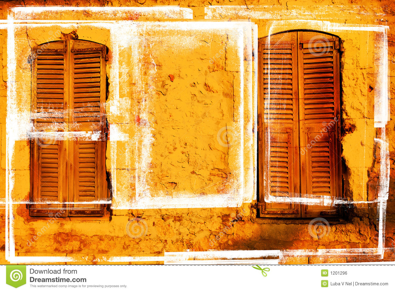 Grungy pair of windows with shutters