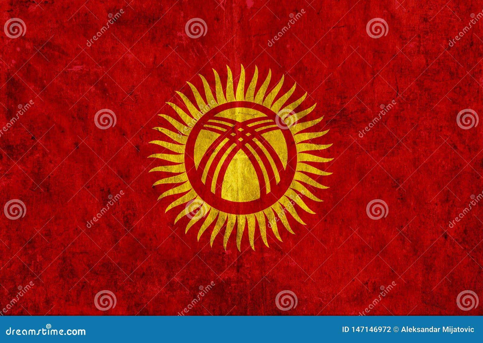 Grungy pappers- flagga av Kirgizistan