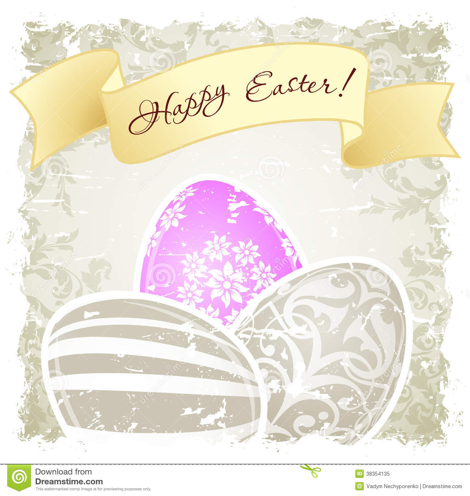 Grungy Pasen-Achtergrond met Verfraaide Eieren