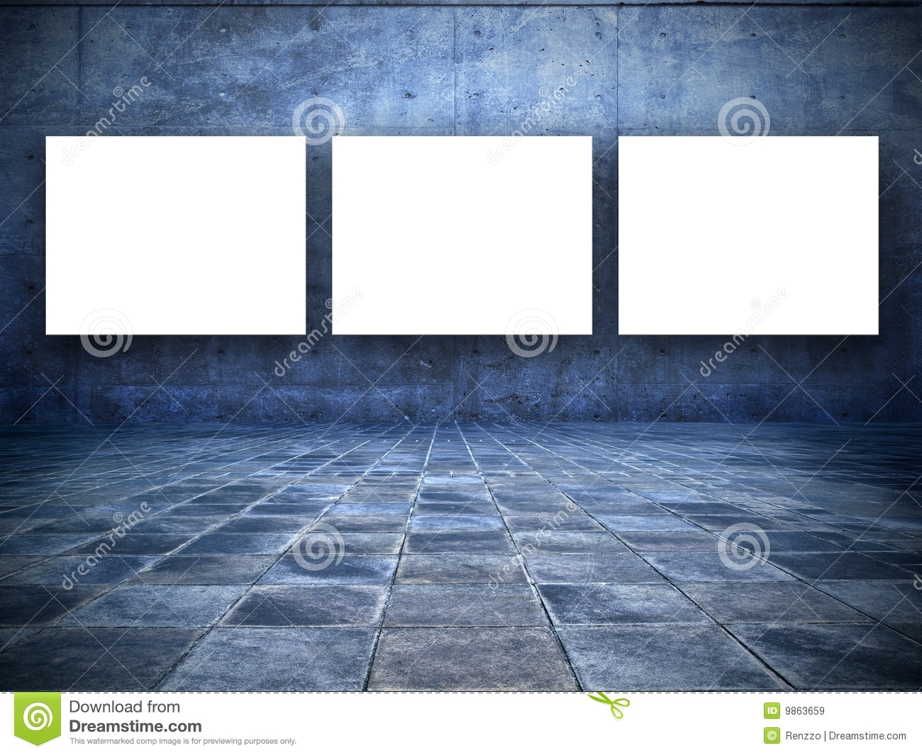 Grungy room with three blank white screens