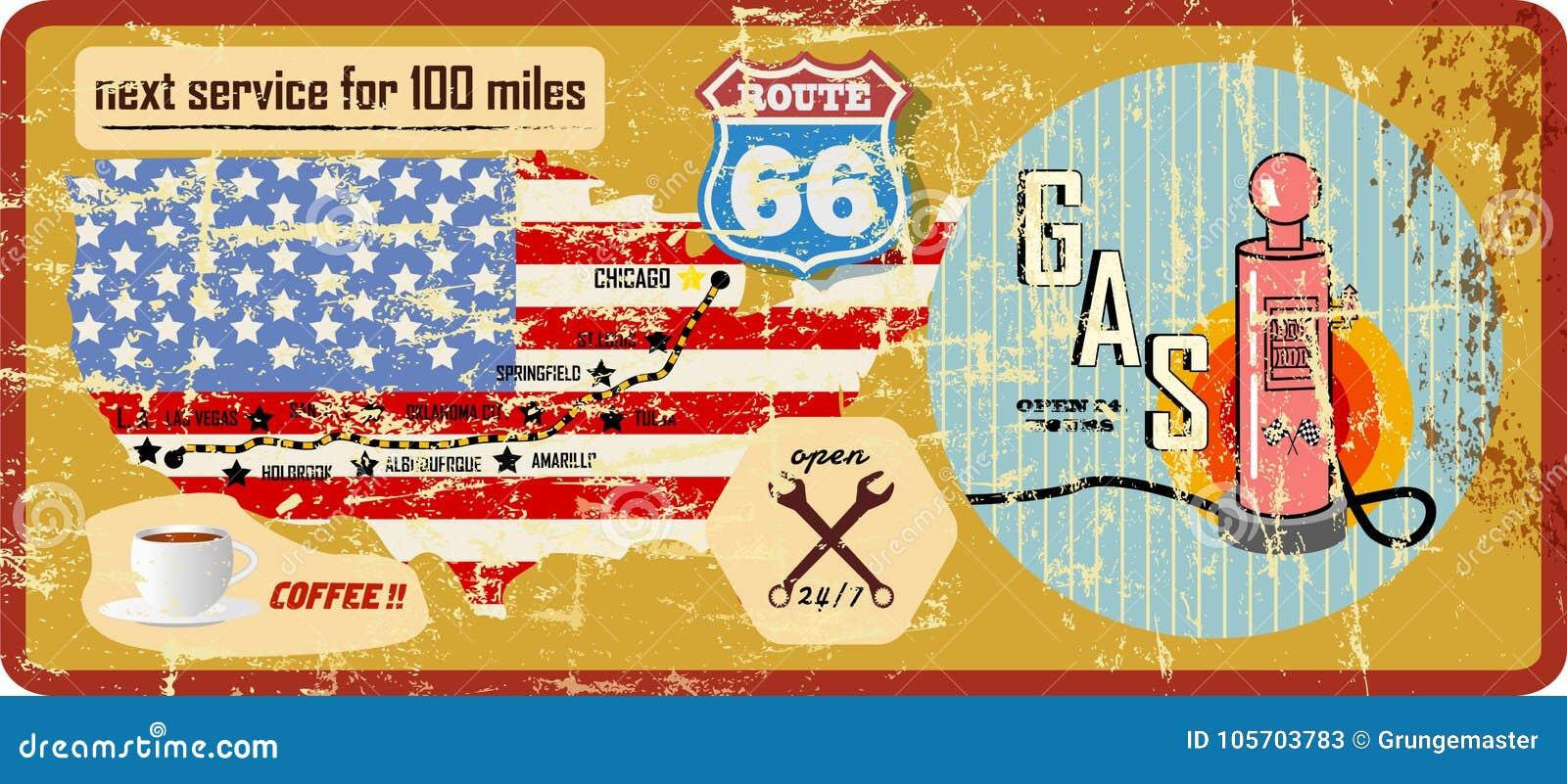 Grungy route 66 benzinestationteken en wegenkaart