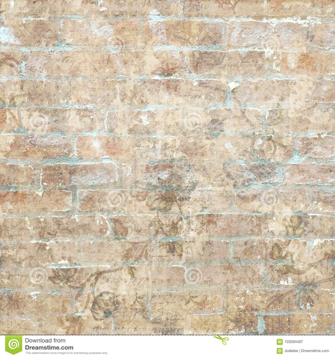 Grungy shabby vintage brick wall with floral pattern