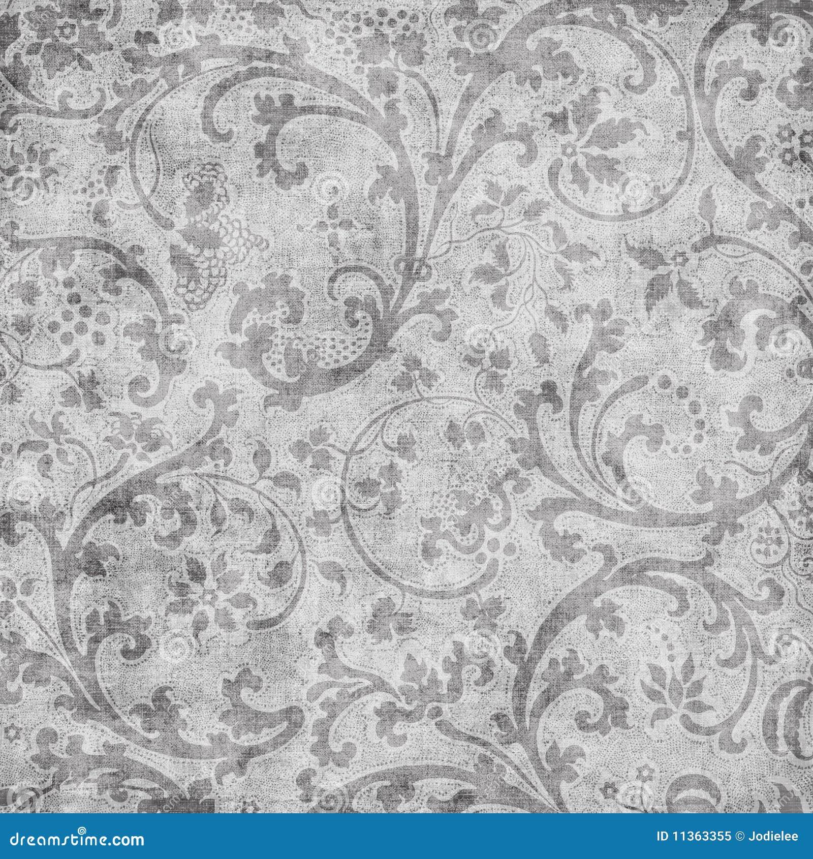Grungy uitstekende bloemenachtergrond van het damastplakboek