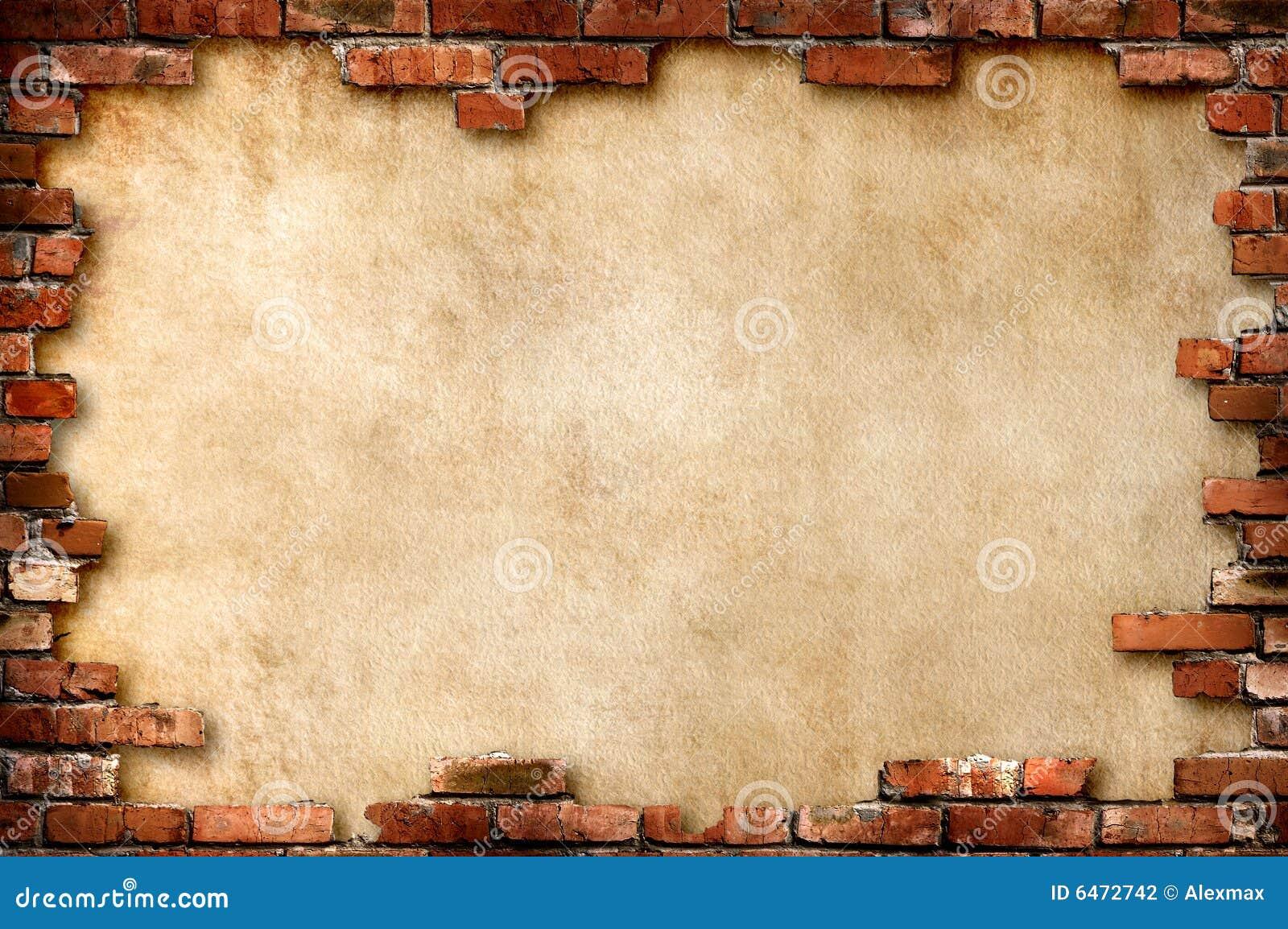 Grungy vägg för tegelstenram