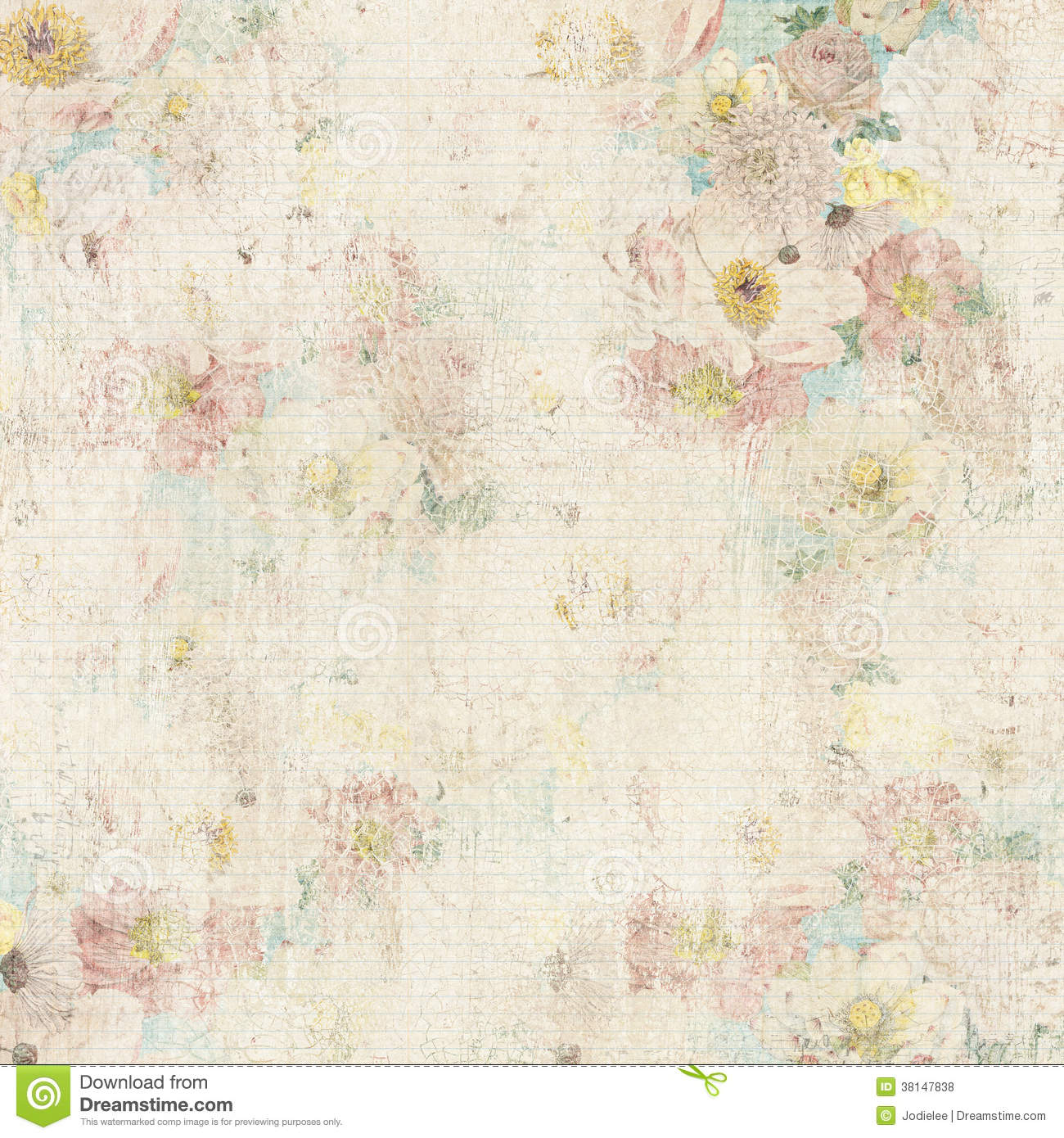 Grungy Vintage Floral Background Stock Photo Image Of Cracked