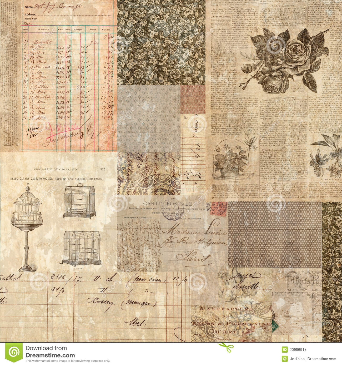 Download Grungy Vintage Postcard Ephemera Collage Backgroun Stock Image - Image of grunge, collage: 20986917