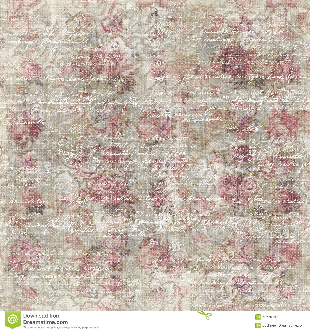 Grungy Vintage Rose Flower Botanical Wallpaper Background Repeat