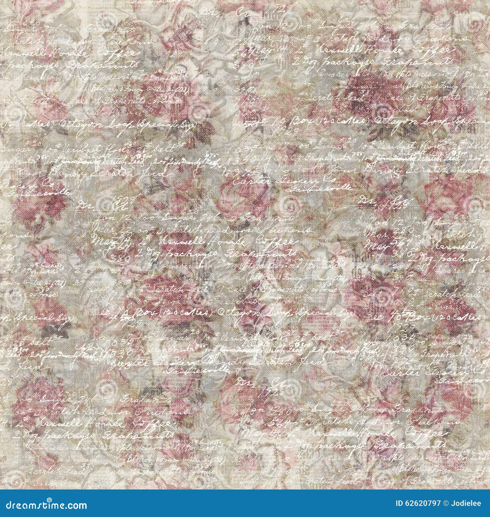 Grungy Vintage Rose Flower Botanical Wallpaper Background Repeat