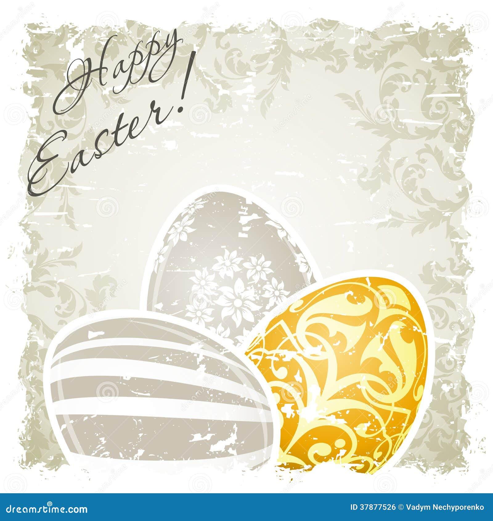 Grungy Wielkanocny tło z Dekorującymi jajkami