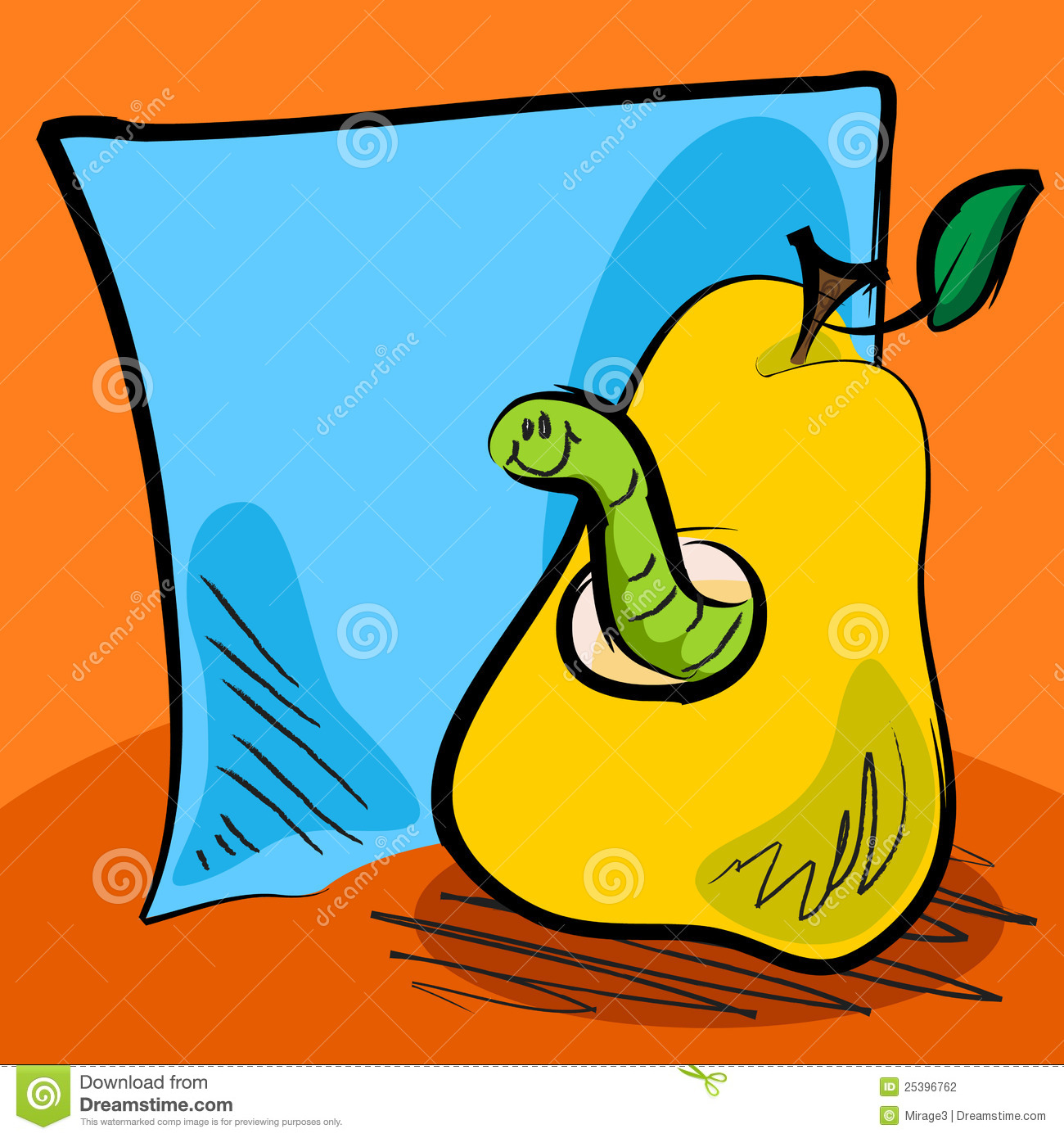 grungy worm cartoon inside a pear with sticky note stock robot clipart gadgets robot clipart gadgets