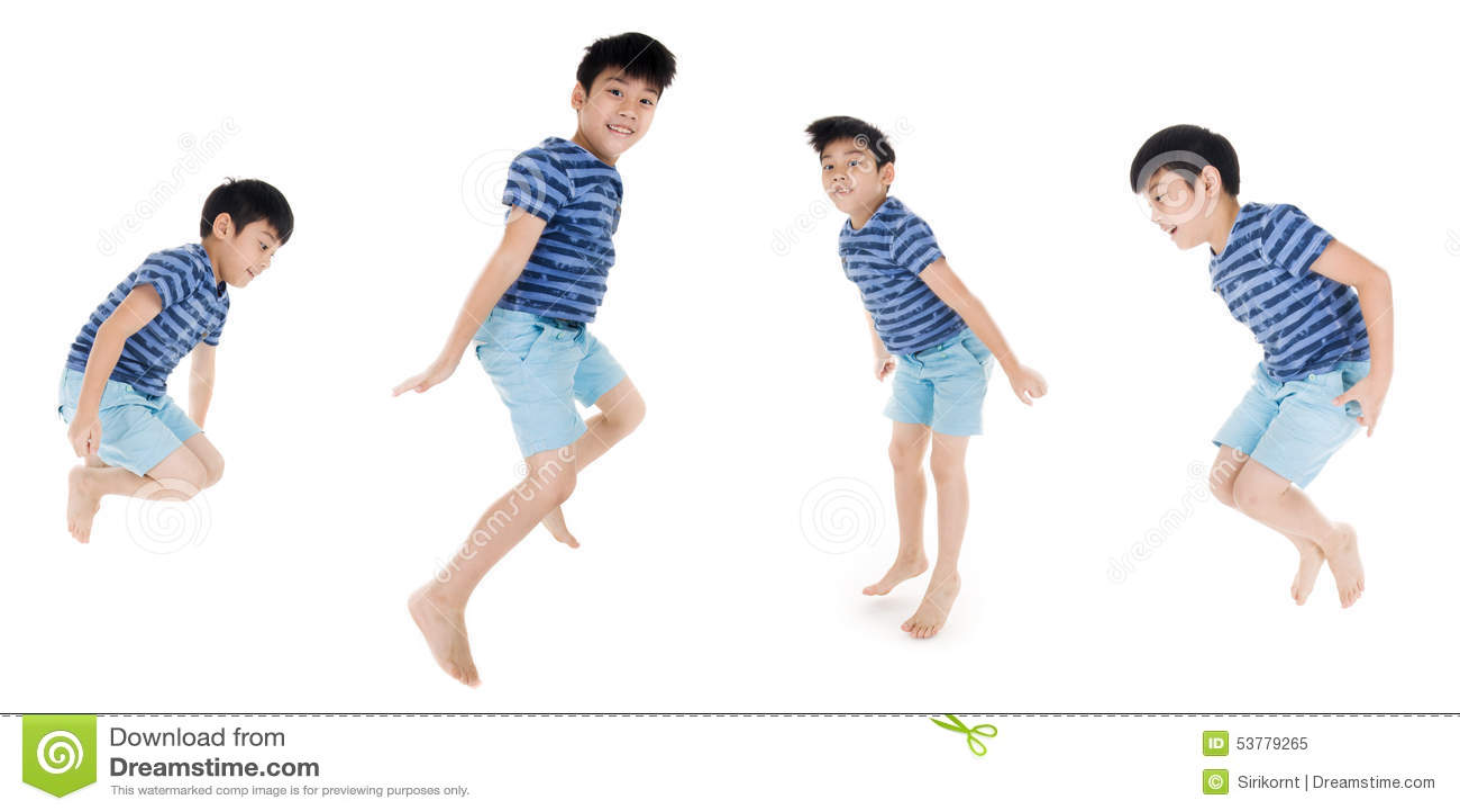 Grupa Azjatycki śliczny dziecko skacze na białym tle