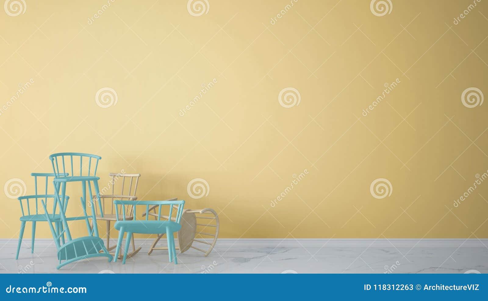 Grupa błękitny nowożytny scandinavian klasyk i skaliści krzesła brogujący up w rówieśnika pustym wnętrzu z marmurową podłoga, arc