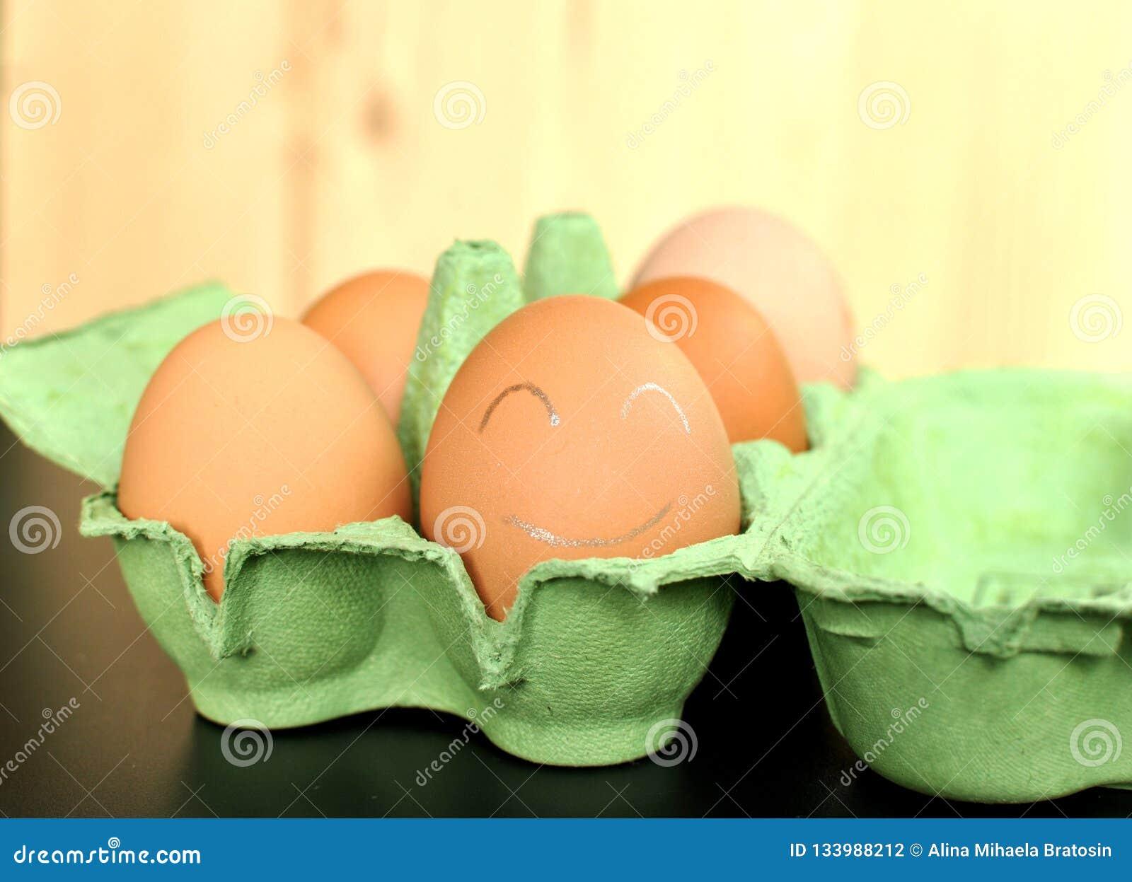 Grupa brązu kurczaka jajka w zielenieje otwartego formwork na naturalnym drewnianym tle Zamknięty jajko maluje z białym smiley f