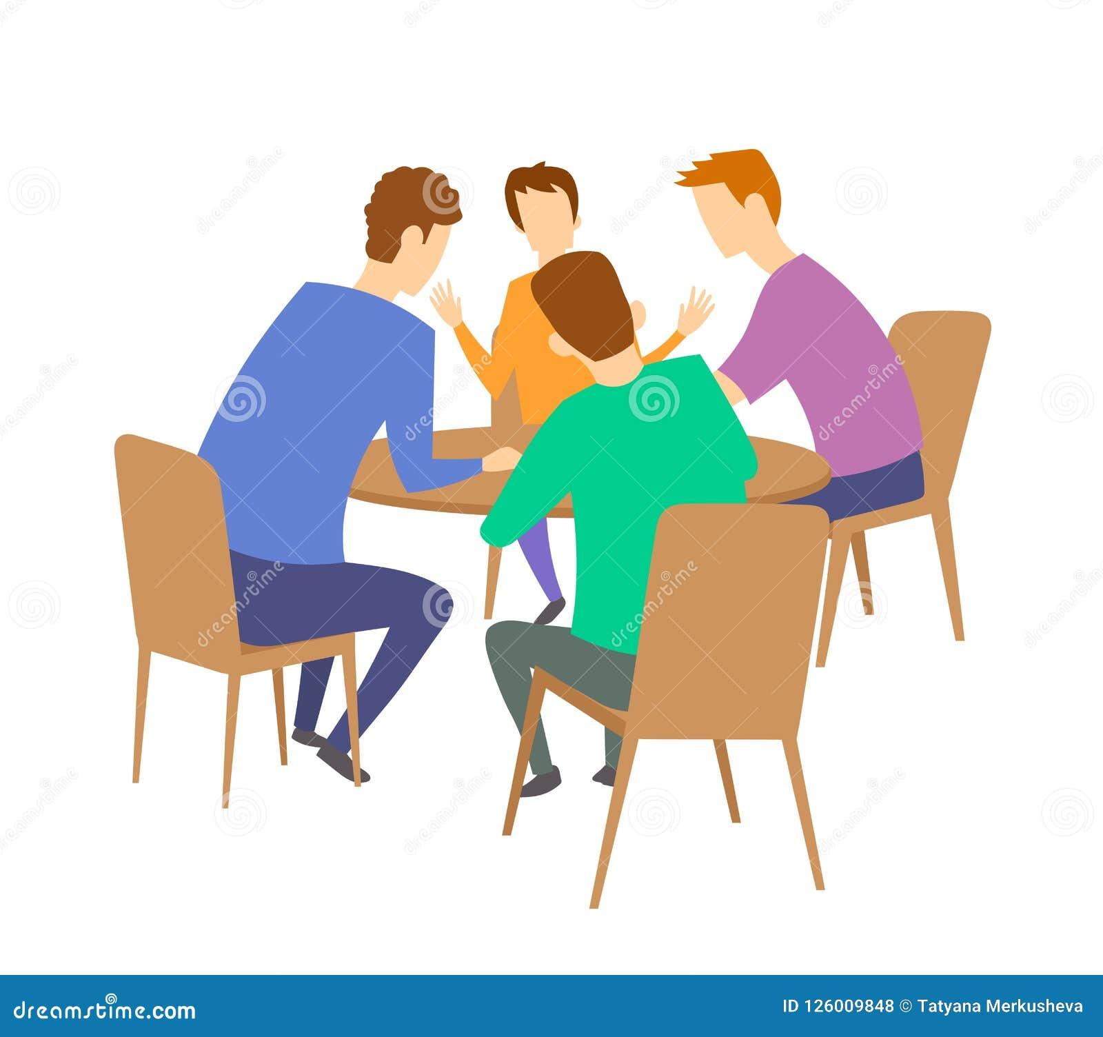 Grupa cztery młodzi ludzie ma dyskusję przy stołem brainstorming Płaska wektorowa ilustracja Odizolowywający na bielu