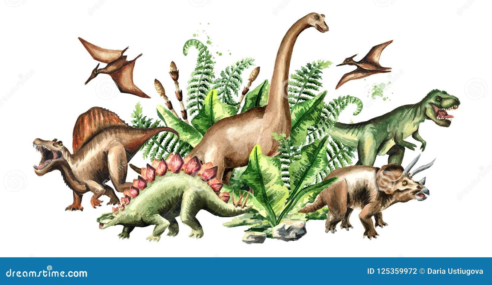 Grupa dinosaury z prehistorycznymi roślinami Akwareli ręka rysująca ilustracja odizolowywająca na białym tle