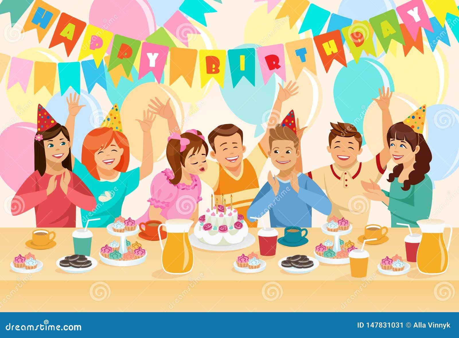 Grupa dzieci ?wi?tuje wszystkiego najlepszego z okazji urodzin