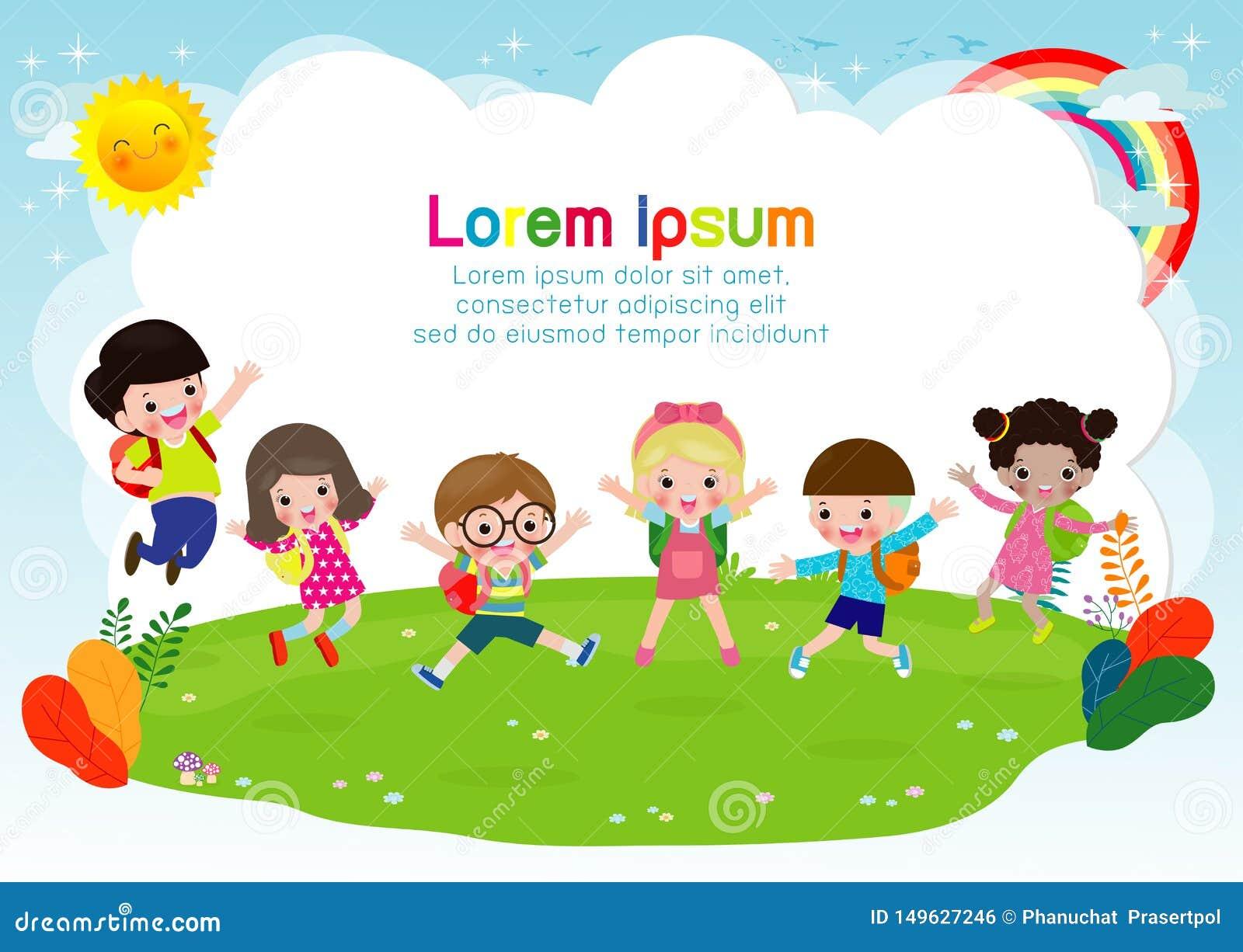 Grupa dzieci skacze szkoła, z powrotem, dzieciaków uczy kogoś, edukacji pojęcie, dzieciaki iść szkoła, szablon dla reklamowej bro